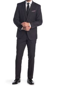 Perry Ellis Charcoal Dobby Two Button Notch Lapel