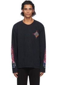 Rhude - Black Neon Flame Long Sleeve T-Shirt
