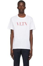 Valentino - White & Red 'VLTN' T-Shirt