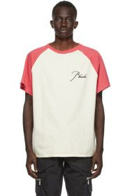 Rhude - Off-White & Red Raglan Logo T-Shirt