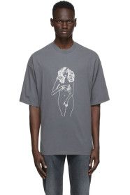 Palm Angels - Grey Printed Woman T-Shirt