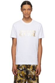 Versace Jeans Couture - White & Gold Logo T-Shirt