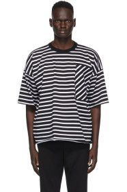 N.Hoolywood - Black & White Striped T-Shirt
