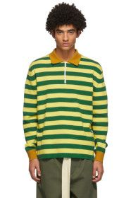Sunnei - Green & Yellow Striped Long Sleeve Polo