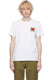 Maison Kitsuné - White Velvet Fox Head T-Shirt