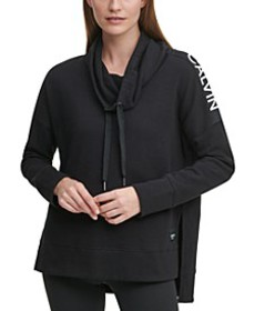 Drop-Hem Cowlneck Fleece Top