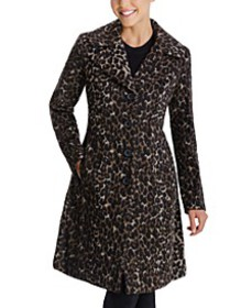 Single-Breasted Leopard Walker Coat, Created for M