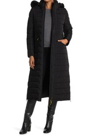 Donna Karan Faux Fur Hooded Down Coat