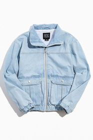 BDG Denim Pocket Light Blue Bomber Jacket