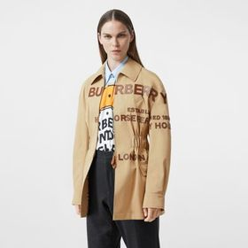 Burberry Leather Horseferry Appliqué Cotton Riding