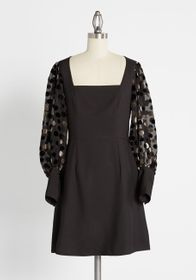 Hutch Hutch Flocked with Fab Mini Dress in Black