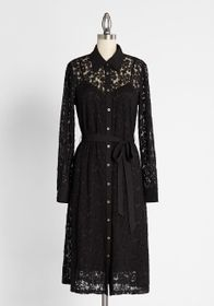 ModCloth Lace and Love Letters Midi Shirt Dress Bl
