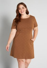 Hutch Hutch Circle, Circle Dot A-Line Dress in Bro