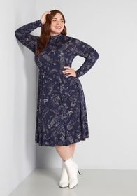 ModCloth ModCloth Print Appeal A-Line Dress in Nav