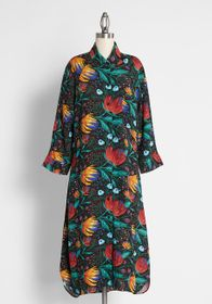Pepaloves Pepaloves Flowers Never Bend Shirt Dress