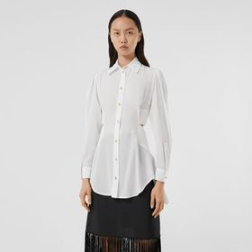Burberry Logo Detail Cut-out Silk Shirt in Optic W