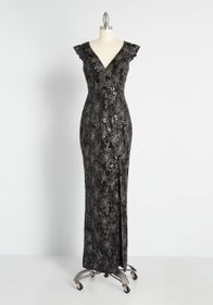 Decadent Darkness Maxi Dress in Black Floral Spark