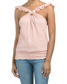 Smocked Bottom Textured Ring Front Tank Top