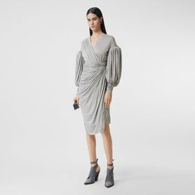 Burberry Puff-sleeve Jersey Wrap Dress in Pewter M