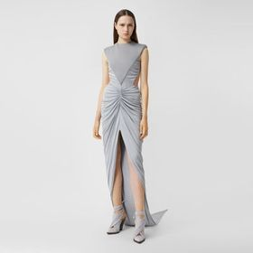 Burberry Gathered Jersey and Neoprene Gown in Heat