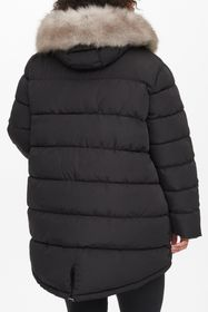 DKNY Zip Front Faux Fur Hooded Coat