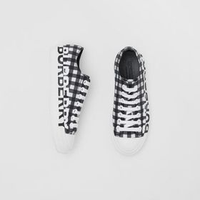 Burberry Logo Print Gingham Cotton Sneakers in Bla