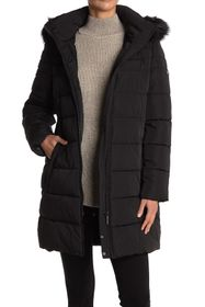 DKNY Faux Fur Trim Hood Puffer Quilted Jacket