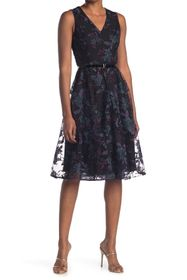 Tommy Hilfiger Mesh Lace Fit & Flare Dress