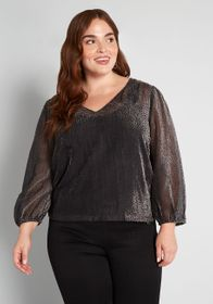ModCloth ModCloth New Sheer's Eve Top in Grey Spot