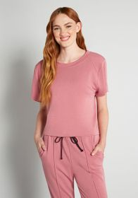 Cinzia Cinzia Cut-off Short Sleeve Sweatshirt in P
