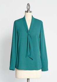 ModCloth ModCloth Pleasant Confidence Tie-Neck Top