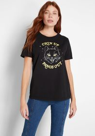 Chin Up, Fangs Out Glow-in-the-Dark Graphic Tee Bl