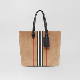 Burberry Large Icon Stripe Suede Tote in Archive B