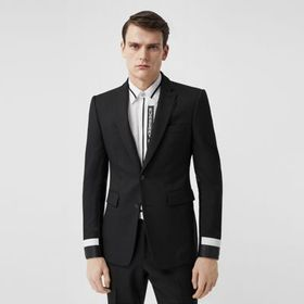 Burberry Classic Fit Lambskin Detail Wool Tailored