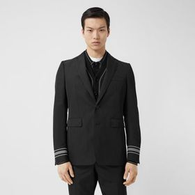 Burberry Classic Fit Stripe Detail Technical Twill