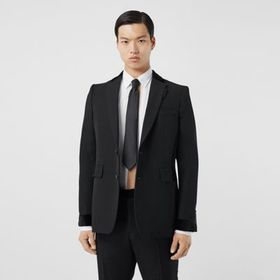 Burberry Classic Fit Velvet Trim Wool Tailored Jac