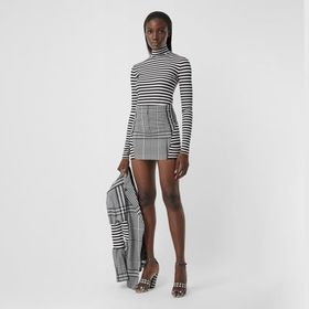 Burberry Striped Stretch Jersey Turtleneck Top in