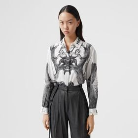 Burberry Montage Print Silk Shirt in Monochrome