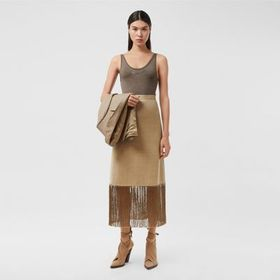 Burberry Fringed Wool Cashmere A-line Skirt in Pec