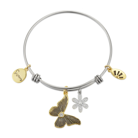 Womens Shine Two-Tone Sisters Butterfly Crystal Fl