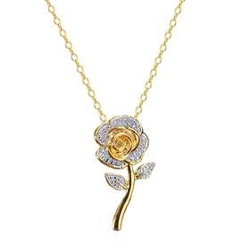 Womens Gold-Plated Diamond Accented Rose Flower Pe