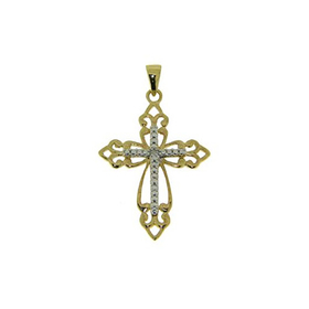 Womens Gold-Plated Diamond Accented Cross Pendant