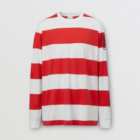 Burberry Long-sleeve Striped Cotton Oversized Top
