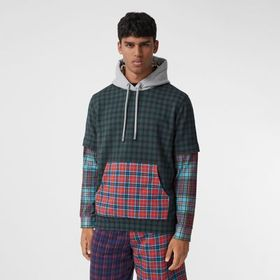 Burberry Patchwork Check Cotton Blend Hoodie
