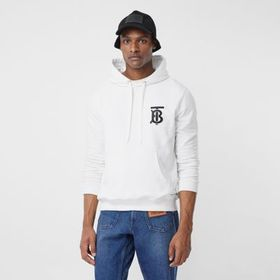 Burberry Monogram Motif Cotton Hoodie in White