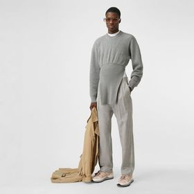 Burberry Logo Wool Jacquard Tailored Trousers in L