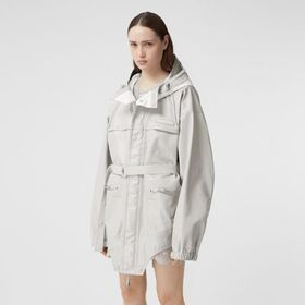 Burberry Cut-out Hem Coated Nylon Parka in Light P