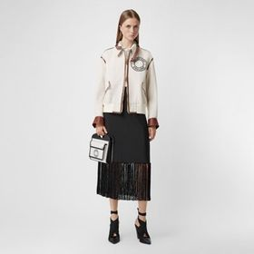 Burberry Fringed Mohair Wool A-line Skirt in Black