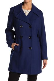 Anne Klein Notch Collar Wool Blend Peacoat
