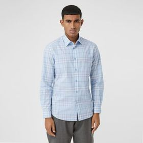 Burberry Check Cotton Poplin Shirt in Dusty Bluebe